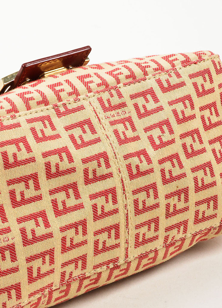 Fendi Red and Tan Monogram Canvas and Leather 'FF' Top Flap Small Shoulder Bag Bottom View