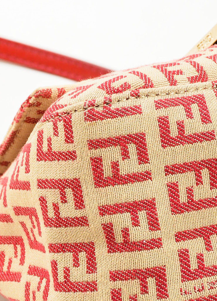 Fendi Red and Tan Monogram Canvas and Leather 'FF' Top Flap Small Shoulder Bag Detail