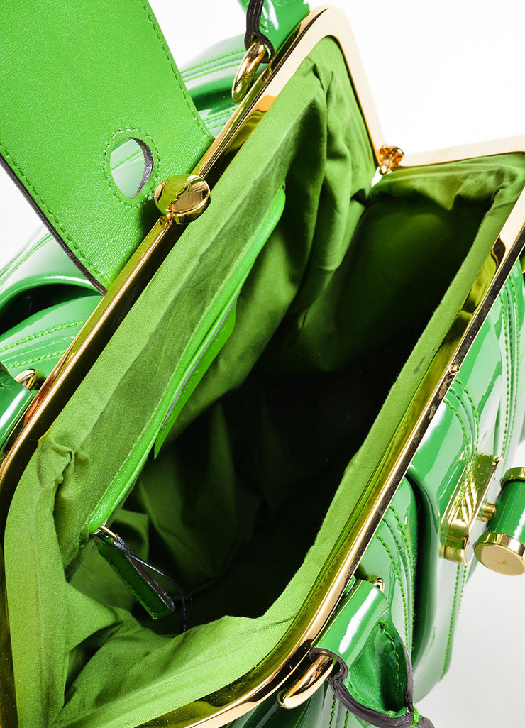 "Green Alexander McQueen Patent Leather Pleated ""Elvie"" Tote Bag Interior"