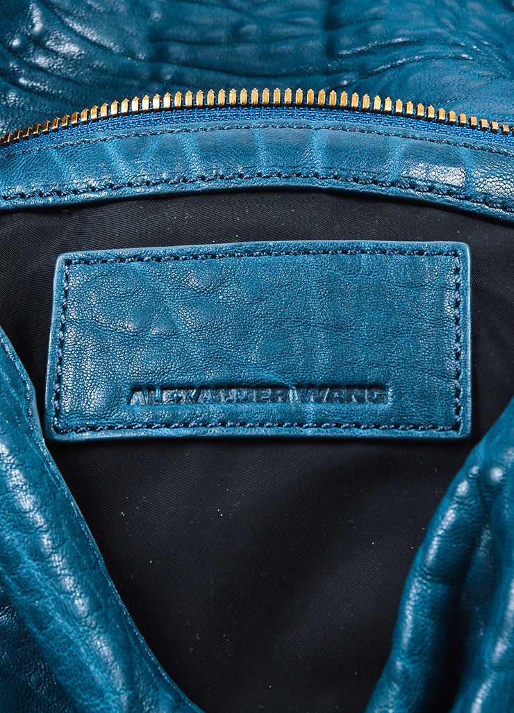 Dark Teal Blue Alexander Wang Pebble Leather Zip Foldover Clutch Bag Brand