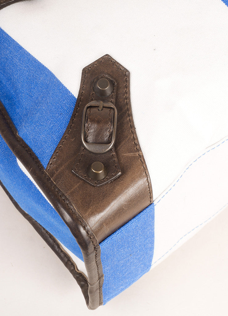 "Balenciaga Blue, White, and Brown Canvas and Leather Stripe ""City"" Bag Detail"