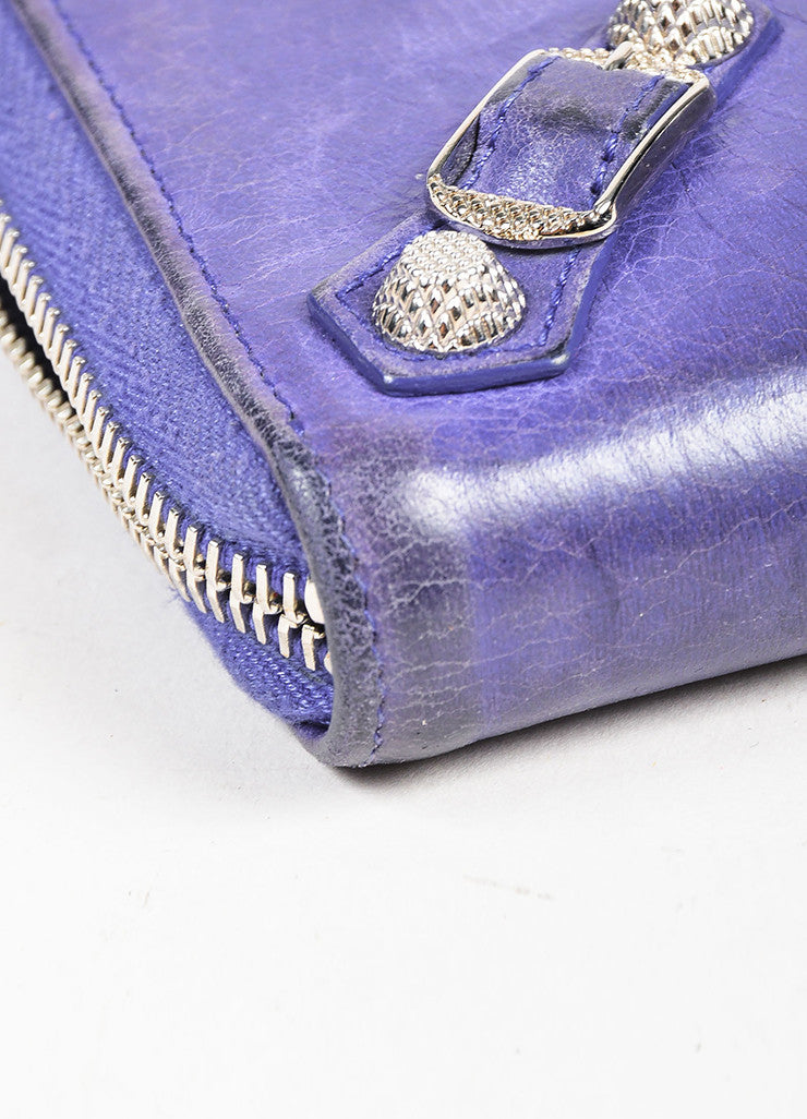 Balenciaga Purple Leather Silver Tone Hardware Continental Wallet Detail 2