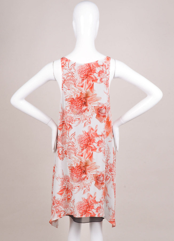 "Barbara Bui New With Tags White and Red Silk ""Toile"" Floral Print Dress Backview"