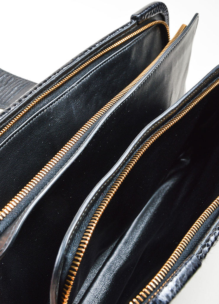"Black Wool, Raffia, and Snakeskin Bottega Veneta Woven ""Ayers Livera"" Clutch Interior 2"