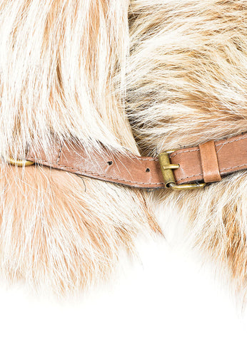 Tan and Brown Brunello Cucinelli Fox Fur Collar Detail