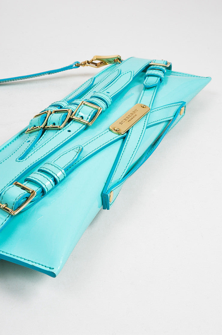 "Aqua Blue Burberry Prorsum Patent Leather Strap ""Bridle"" Shoulder Clutch Bag Bottom View"