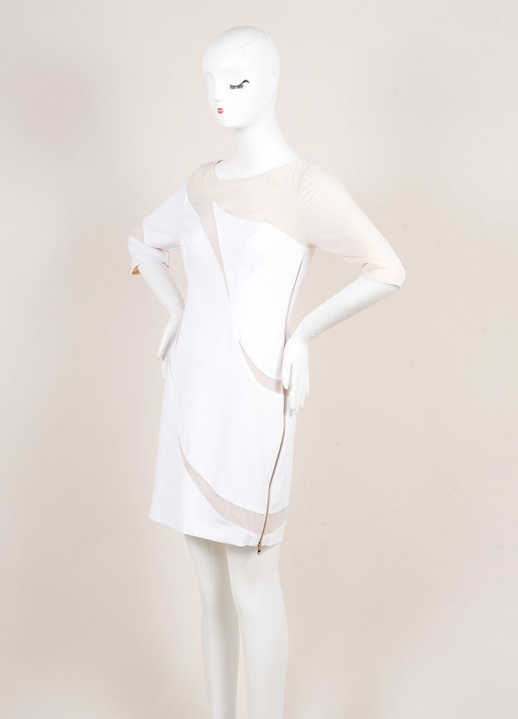 Catherine Malandrino White and Nude Cotton Mesh Cut Out Zip Dress Sideview