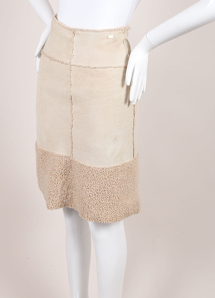 Chanel Beige Suede Shearling Lambswool A Line Skirt Sideview
