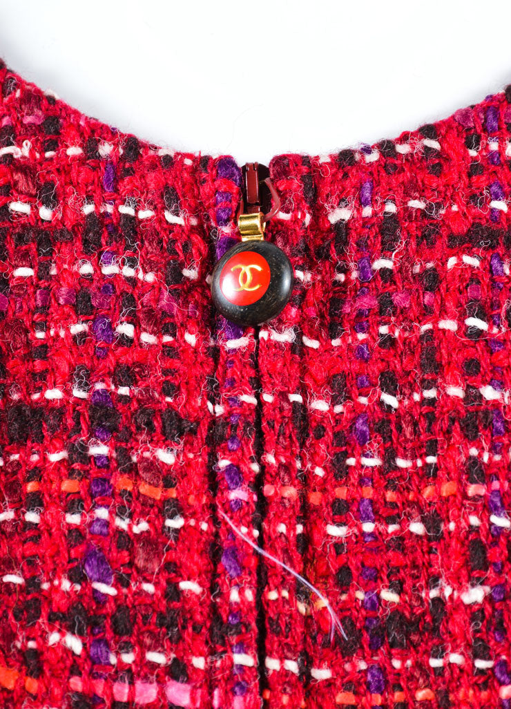 Chanel Red Tweed Knit Zip Front Sleeveless Shift Dress Detail