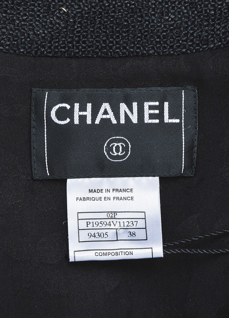 Chanel Black Textured Silk Knit Six Button Jacket Brand