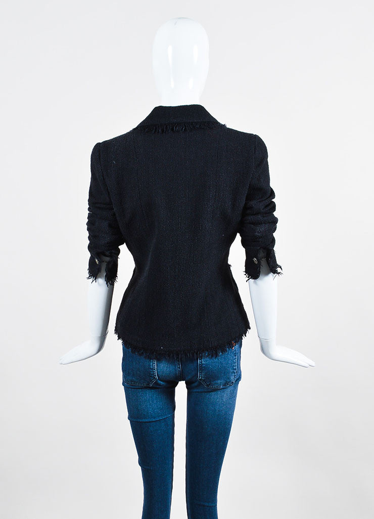 Black Chanel Wool and Silk Ribbed Texture 'CC' Button Fringe Jacket Backview