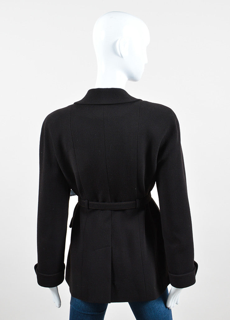 Chanel Brown Wool Belted Waist Four Pocket Blazer Backview