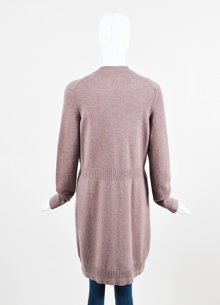 Chanel Purple and Brown Cashmere Rose Gold 'CC' Button Cardigan Sweater Backview