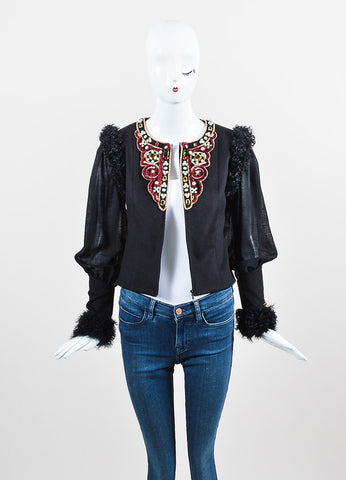Black and Multicolor Chanel Cashmere and Lamb Fur Trim Bead Embellished Jacket Frontview
