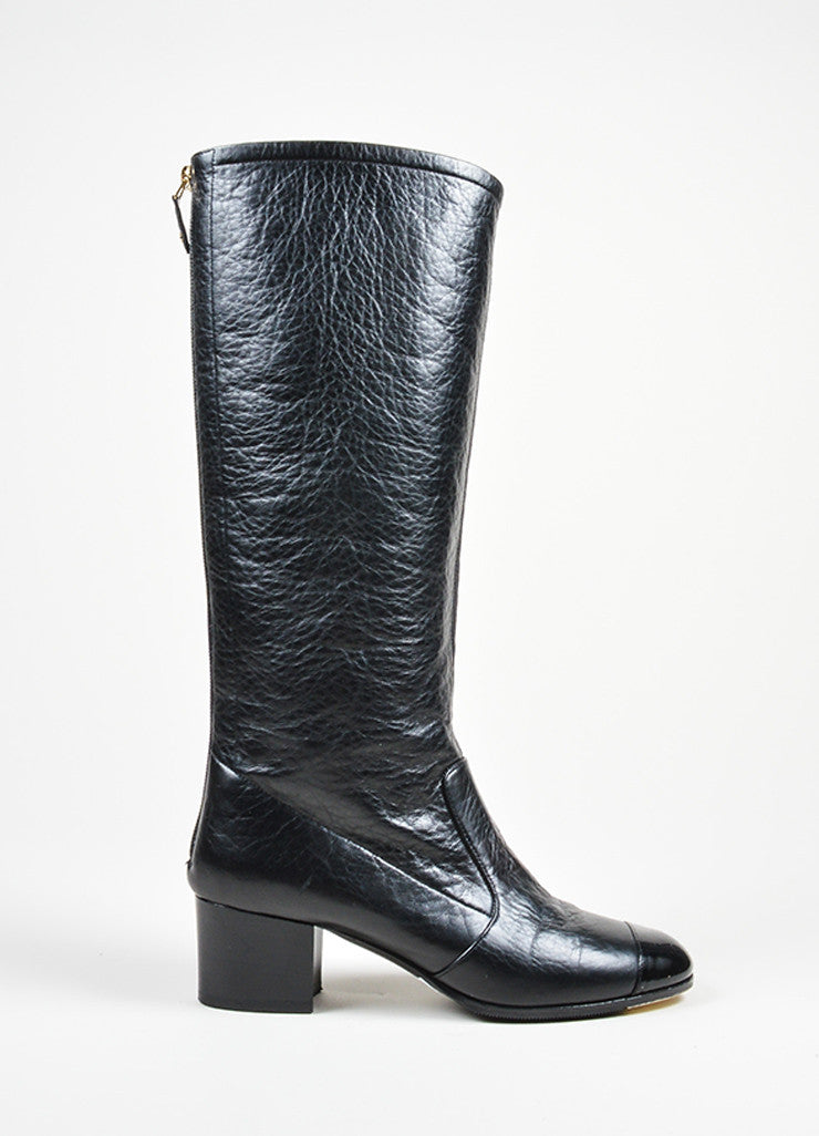Black Chanel Leather Patent Cap Toe Knee High Boots Sideview