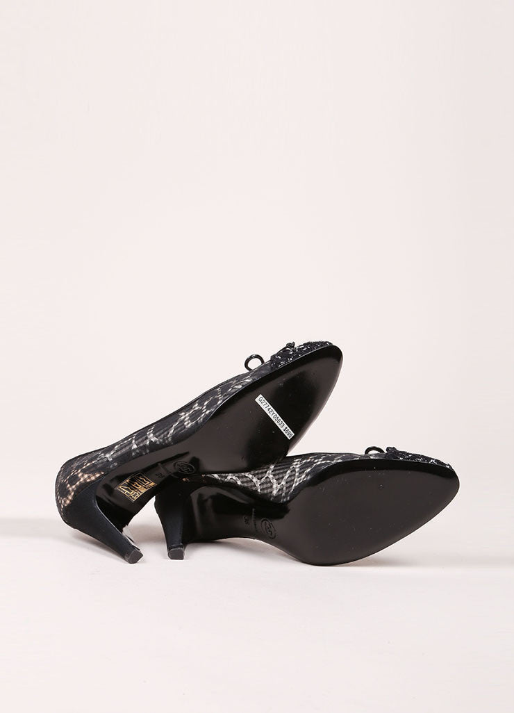 Chanel Black Semi-Sheer Gingham and Tweed Cap Toe Pumps Outsoles