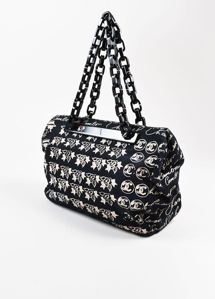 Black and Blush Chanel Canvas Script Printed Plastic Chain Strap Frame Shoulder Bag Sideview