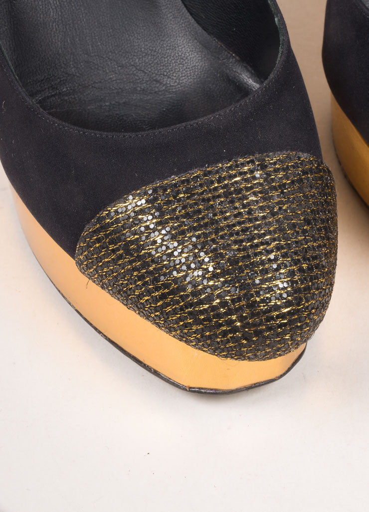 Chanel Black and Gold Toned Woven Metallic Glitter Cap Toe Platform Pumps Detail