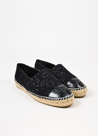 Chanel Black Leather and Tweed Sequined 'CC' Cap Toe Espadrille Flats Frontview