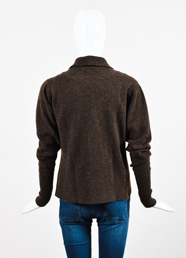 Chanel Brown Woven Knit Opaque 'CC' Button Sweater Cardigan Backview