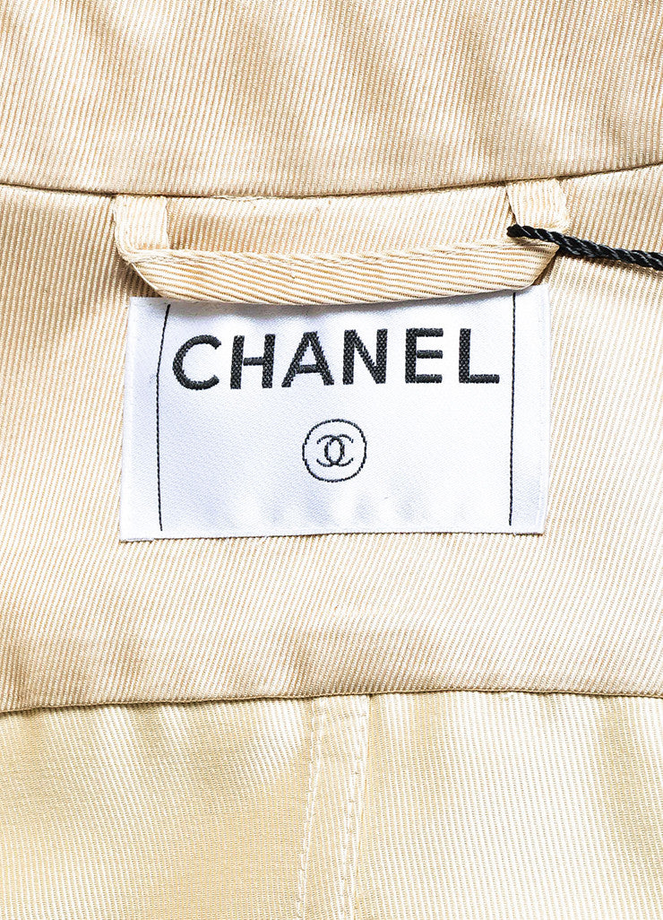 Chanel Golden Beige Gabardine Double Breasted 'CC' Button Trench Coat Brand