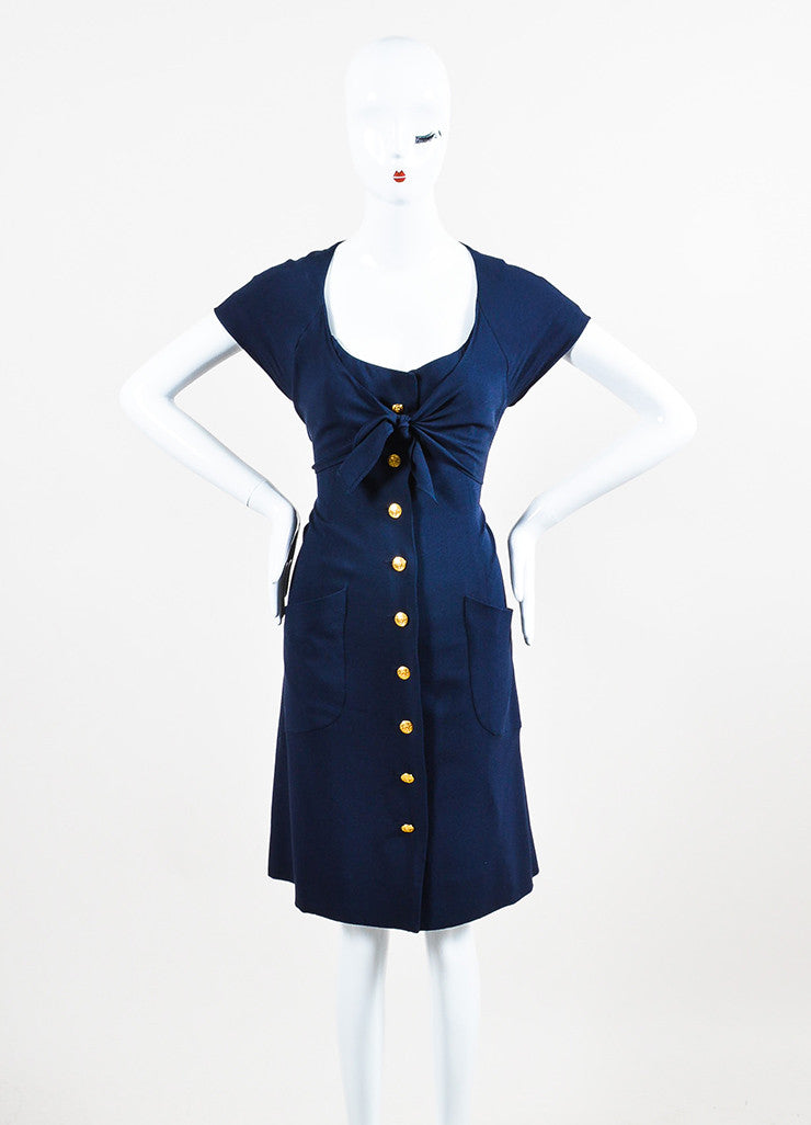 "Navy Blue Chanel Gold Tone ""CC"" Button Ruffle Trim Short Sleeve Dress Front"