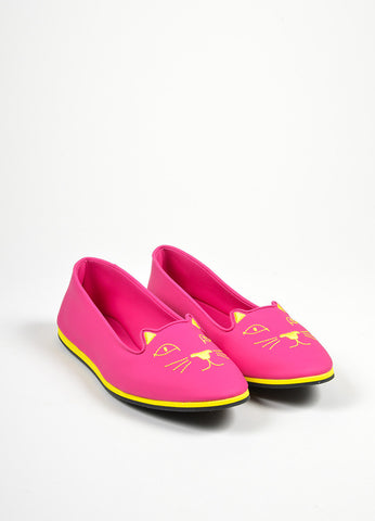 "Bubblegum Pink and Yellow Charlotte Olympia Rubber ""Capri Cats"" Flats Frontview"
