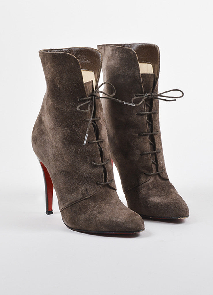 Christian Louboutin Brown Suede Lace Up Mid Calf Stiletto Boots frontview