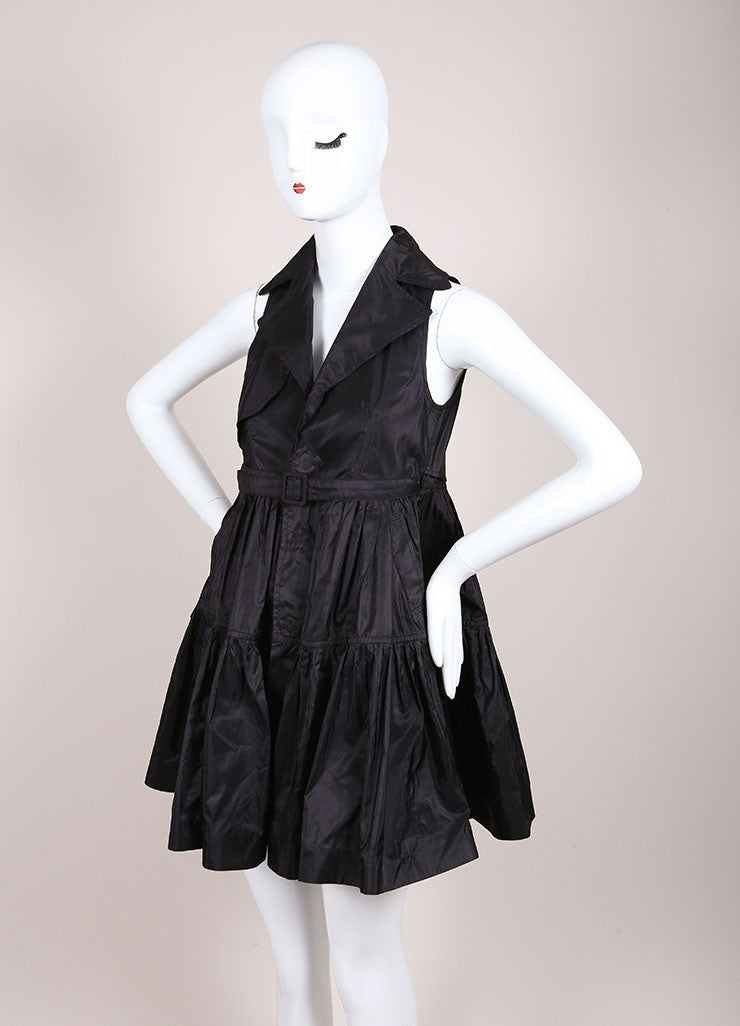 DSquared2 Black Silk Taffeta Trench Sleeveless Dress Sideview