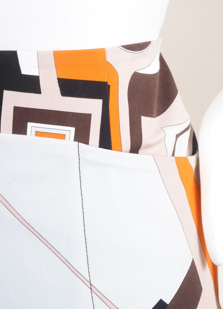 Emilio Pucci Orange, Black, and Multicolor Cotton Abstract Print Short Skirt Detail