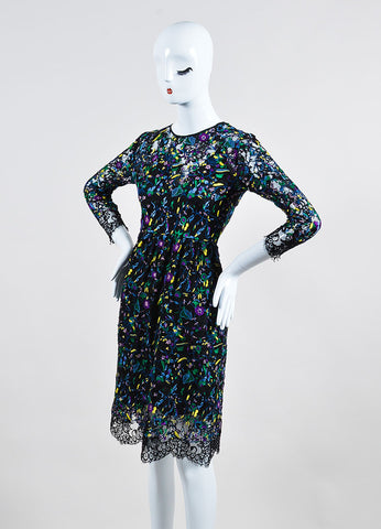 "Erdem Black and Multicolor Lace Floral Embroidered Long Sleeve ""Merik"" Dress Sideview"