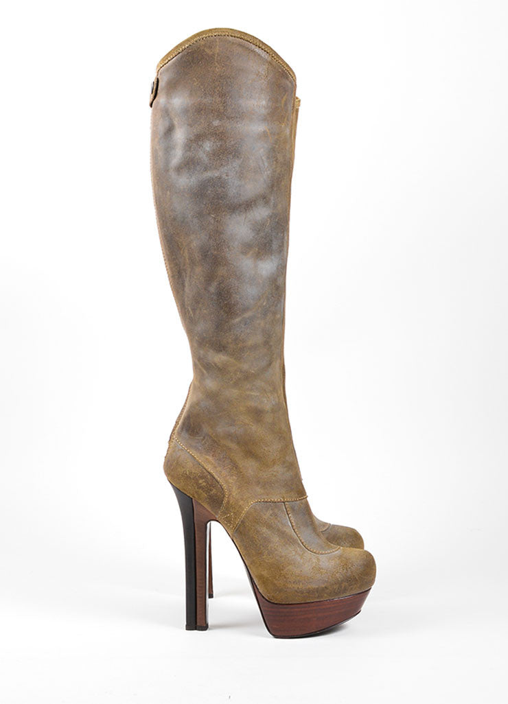 Grey Fendi Distressed Leather Wooden Platform Knee High Boots Sideview