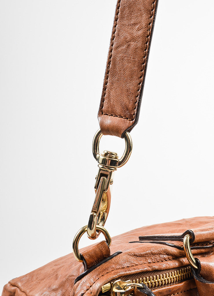 "Tan Givenchy Distressed Leather Crossbody ""Pepe Pandora Messenger"" Bag Detail 2"