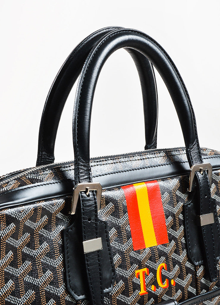 "Black Brown White Goyard Painted Monogram Canvas ""Ambassade"" Bag Detail 3"