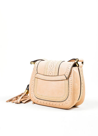 "Beige Leather Gucci Gold Toned Studded Tassel ""Snaffle Bit"" Cross Body Bag Sideview"