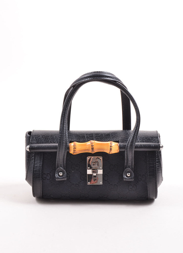 Gucci Black Canvas Leather Monogram Bamboo Detail Bullet Mini Satchel Bag Frontview