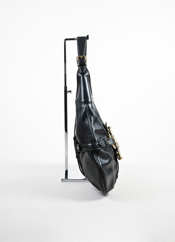 "Black Leather Gucci ""85th Anniversary Bridle Bit Hobo"" Flat Shoulder Bag Sideview"