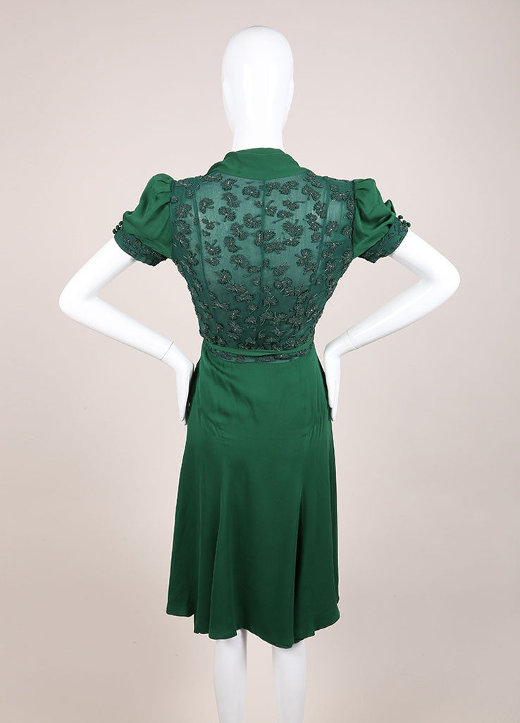 Gucci Green Beaded Short Sleeve Open Back Wrap A-Line Dress Backview