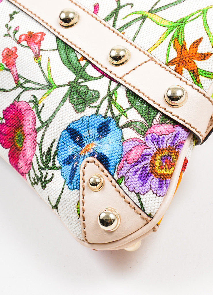 Multicolor and Cream Gucci Flora Collection Horsebit Small Flap Clutch Detail