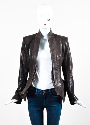 Haider Ackermann Brown Distressed Leather Exaggerated Peplum Jacket Frontview