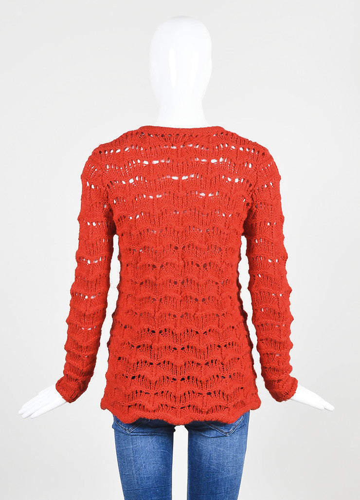 "Red Isabel Marant Crochet Knit ""Guetty"" Sweater Backview"