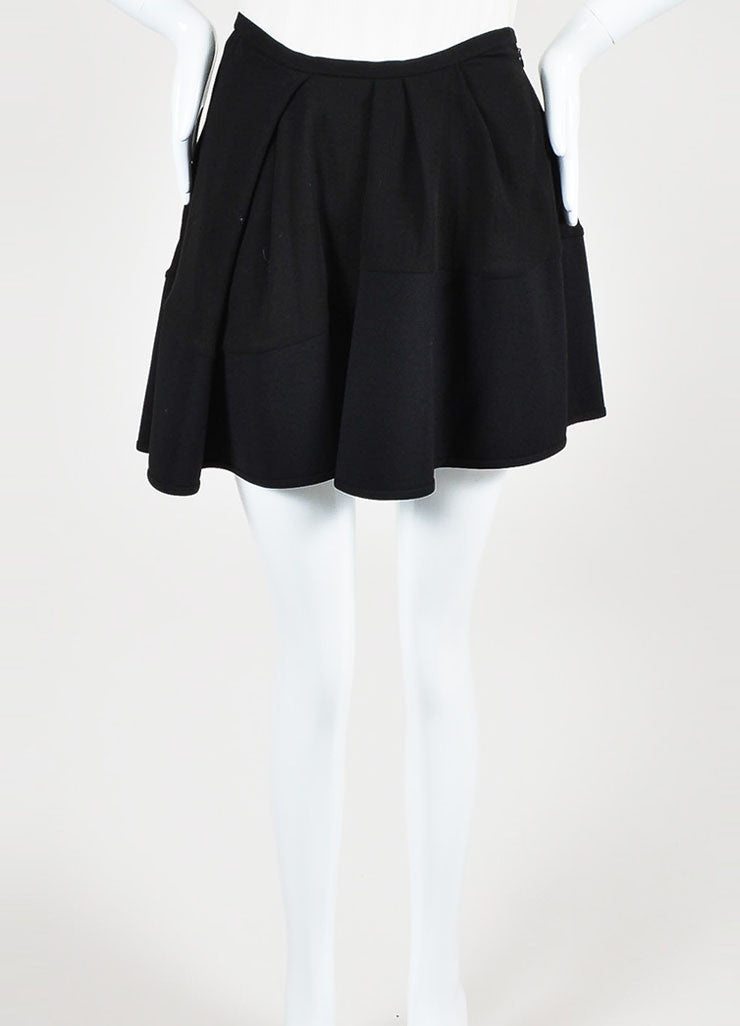 "Black äó¢íšíóIsabel Marant Pleat ""Rumer"" Asymmetrical Mini Skirt Frontview"