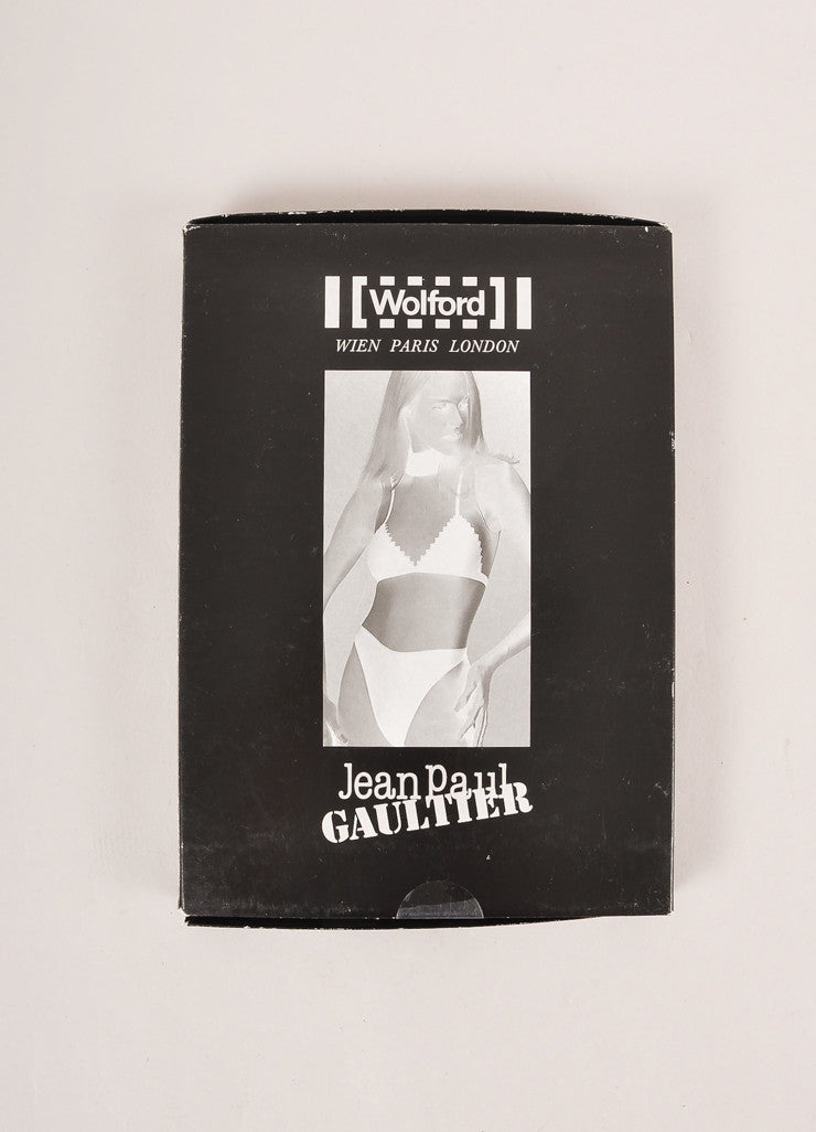 Jean Paul Gaultier for Wolford New In Box Nude and Black Mock Neck Bodysuit Box