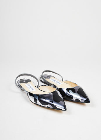 Black and Silver Camouflage Metallic Jimmy Choo Leather Flats Frontview
