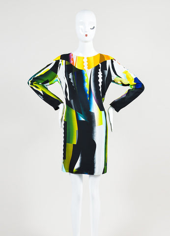 "Kenzo Multicolor Print ""Spray"" Long Sleeve Shift Dress Frontview"