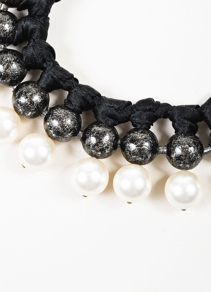 Black, Gunmetal, and Faux Pearl Lanvin Beaded Collar Ribbon Necklace Detail
