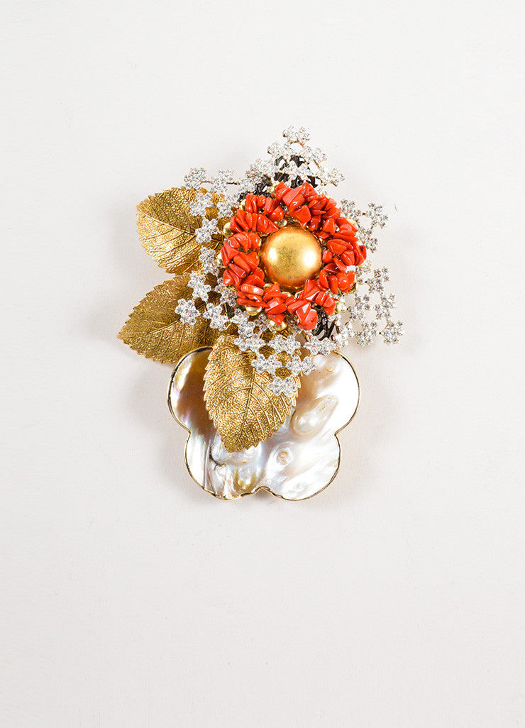 Lawrence VRBA Gold Coral Beaded Iridescent Shell Pin Front