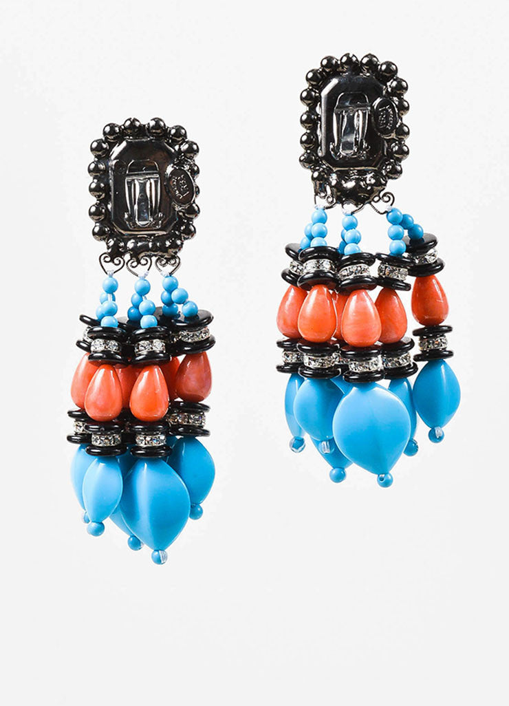 Black, Turquoise, and Coral Lawrence Vrba Beaded Crystal Tassel Clip On Earrings Backview