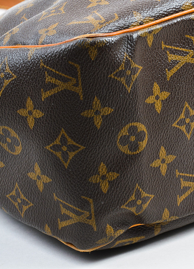 "Louis Vuitton Brown Canvas and Leather Monogram ""Batignolles Horizontal"" Bag Detail"
