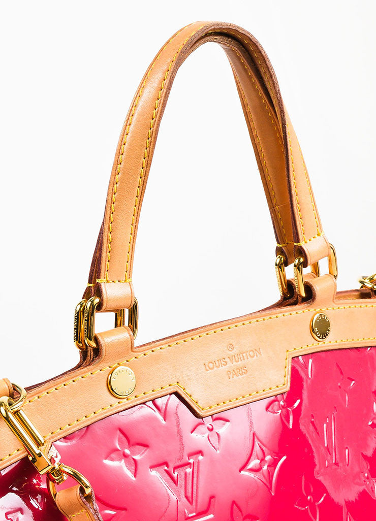 "Louis Vuitton Berry Pink Tan Monogram Vernis Leather ""Brea MM"" Tote Bag Detail 2"